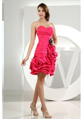 Ruffles Column Sweetheart Taffeta Mini-length Prom Dress Hot Pink