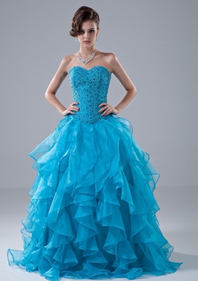 Beading and Ruffles Sweetheart Organza Beading Floor-length A-Line Prom Dress
