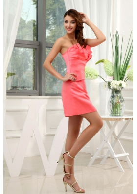 A-Line Strapless Satin Watermelon Mini-length 2013 Prom Dress