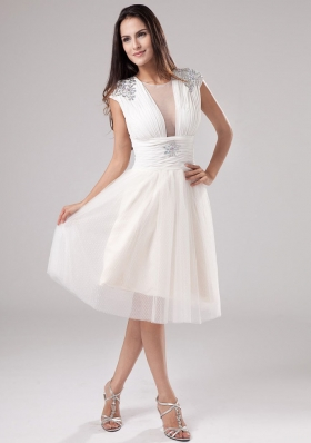 A-Line Scoop Tea-length Tulle Beading 2013 Prom Dress