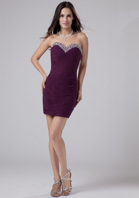 Beading Mini-length Chiffon Column Sweetheart Prom Dress Purple