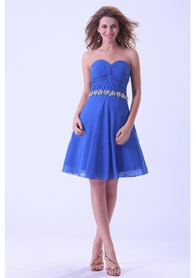 Royal Blue Bridesmaid Dresses With Sweetheart Appliques Knee-length Chiffon