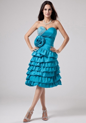 Luxurious Teal Prom Dress Sweetheart Ruffled Layeres Hand Made Flower