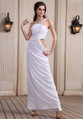 One Shoulder Prom Dress With Beaded Ankle-length Chiffon For Party