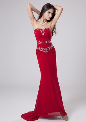 Beading Mermaid Sweetheart Watteau Chiffon Prom Dress Red
