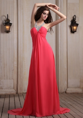 Coral Red Prom Dress With Beaded V-neck Chiffon Court Train Empire