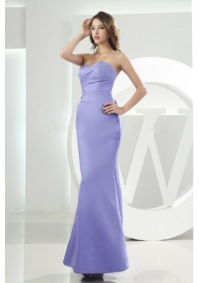 Mermaid Sweetheart Lilac Satin Ankle-length 2013 Bridesmaid Dresses