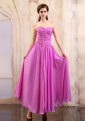 Lavender Prom Dress Sweetheart Ruching Ankle-length Chiffon
