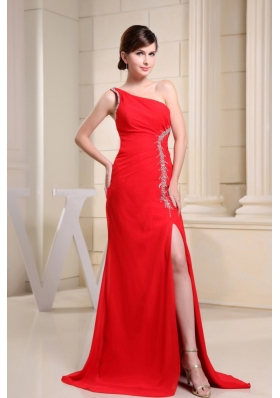 Red High Slit and One Shoulder For Prom Dress With Beading