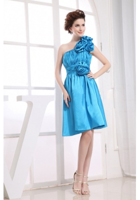 Hand Made Flowers Decorate Bodice One Shoulder Aqua Blue Knee-length Prom Dress For 2013