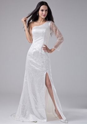 High Slit Sequins One Shoulder Brush / Sweep Column Prom Dress White