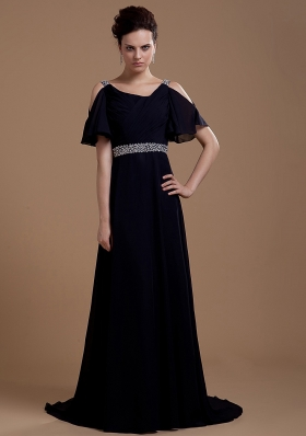 Black Prom Dress With V-neck Beaded Brush Train Chiffon