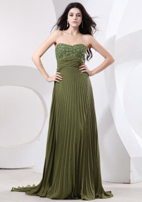 Beaded Decorate Bust and Pleat For Prom Dress With Brush Train and Olive Green