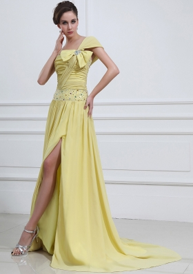 Ligth Yellow Prom / Evening Dress With One Shoulder Beaded High Slit Chiffon Brush Train