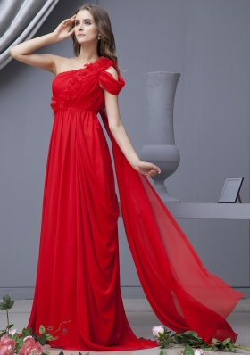 Red Prom Dress With One Shoulder Watteau Train Chiffon For Custom Made