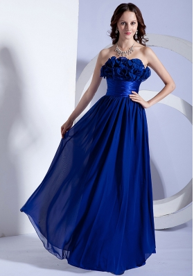 Hand Made Flowers Decorate Bodice Blue Chiffon Floor-length Empire 2013 Prom Dress
