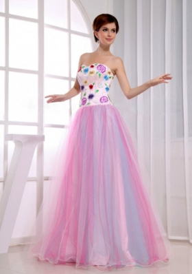 A-Line Sweetheart Organza Pink Floor-length 2013 Prom Dress