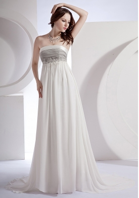 Appliques Decorate Bodice Strapless White Chiffon Brush Train 2013 Prom Dress
