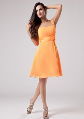 Simple Orange Red One Shoulder 2013 Bridesmaid Dress With Sash and Ruch Chiffon