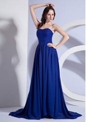 Beading Decorate Up Bodice Blue Chiffon Brush Train 2013 Prom Dress