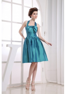 Halter Neckline Teal Bowknot Knee-length Bridesmaid Dress