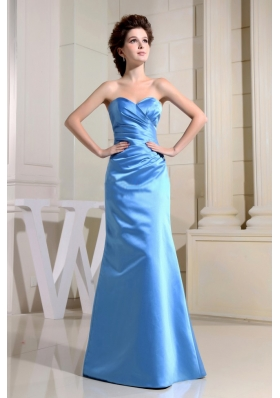 Blue Sweetheart and Ruch For Simple Custom Made Bridesmaid Dresses