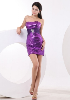 Sequin Over Skirt Prom Dress With Purple Mini-length