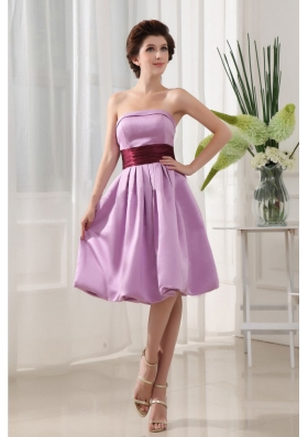 Sashes/Ribbons Simple Lavender Taffeta Knee-length Strapless A-Line Bridesmaid Dresses
