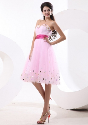 Beautiful Prom Dress With Baby Pink Sequins and Sash