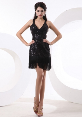 Straps and Sequin Over Skirt For Sexy Prom Dress With Short and Mini-length