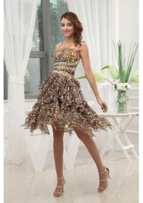 Leopard Chiffon Prom / Cocktail Dress With One Shoulder Beaded and Ruffled Layers Knee-length For Club