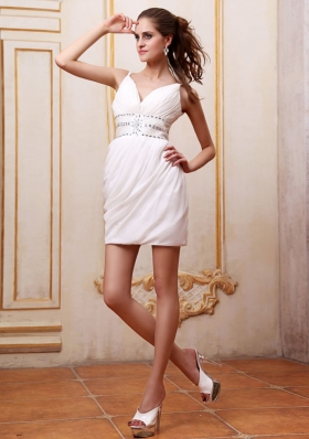 Short Prom Dress With Bbeaded Decorate Waist and Straps Mini-length