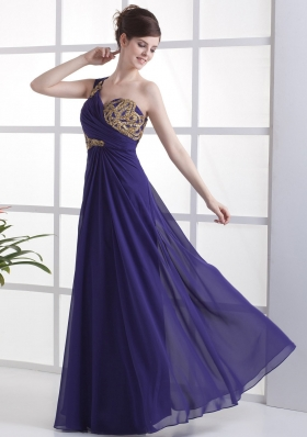 One Shoulder For Prom Dress With Beading Ruch and Floor-length