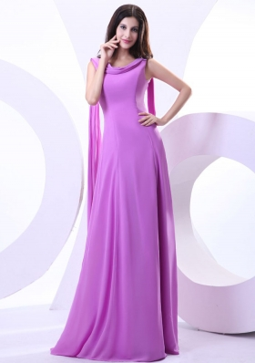 Watteau Train For Lavender Prom Dress With V-neck