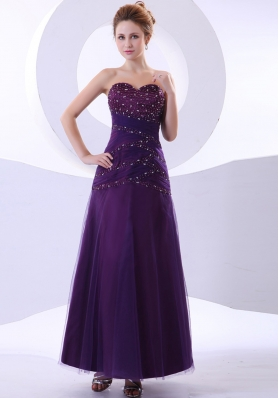Beading Decorate Bodice Purple Ankle-length Tulle and Taffeta 2013 Prom Dress