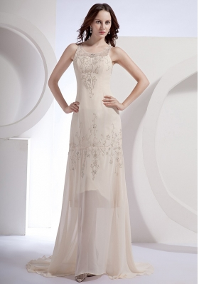 Champagne Beading Decorate Scoop Chiffon Brush Train 2013 Prom Dress
