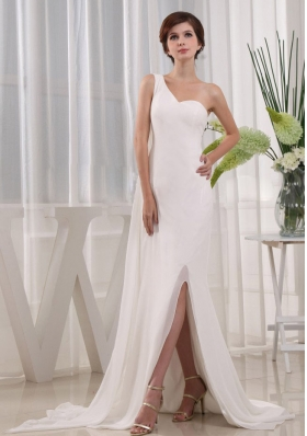 Pretty High Slit Column Prom Dress One Shoulder Beading