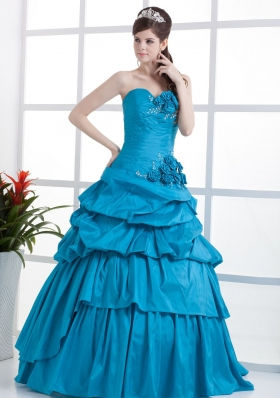 Teal Quinceanera Dress Sweetheart Hand Made Flowers and Ruffled Layers