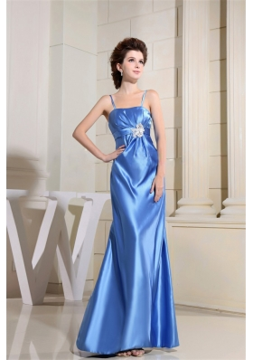 Beading Prom Dress With Strapless Satin Sky Blue Floor-length