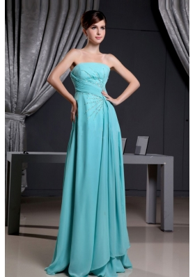 Tuquoise Beading Strapless and Brush Train for Prom Dress