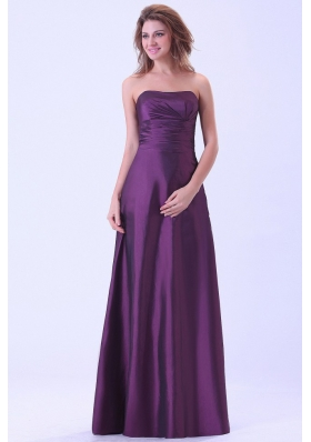 Dark Purple Bridemaid Dress A-line Strapless Floor-length For Custom Made
