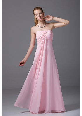 Pink Floor-length Strapless Chiffon Ruched Empire Bridesmaid Dress