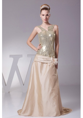 Hand Made Flower Decorate Sequin and Satin Champagne Brush Train 2013 Prom Dress