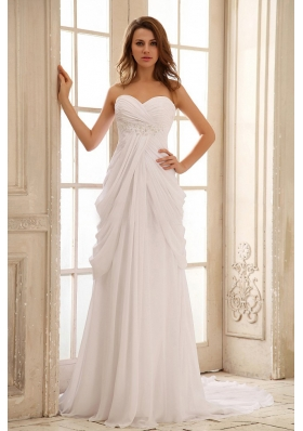 Column Beach Wedding Dress Sweetheart With Appliques and Ruch Chiffon In 2013