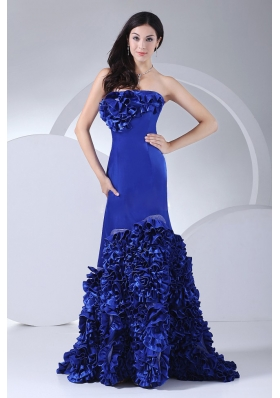 Hand Made Flowers Decorate Bodice Strapless Mermaid Blue Taffeta Brush Train 2013 Prom Dress
