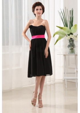 Sashes/Ribbons Empire Strapless Bridesmaid Dress Chiffon Black Tea-length