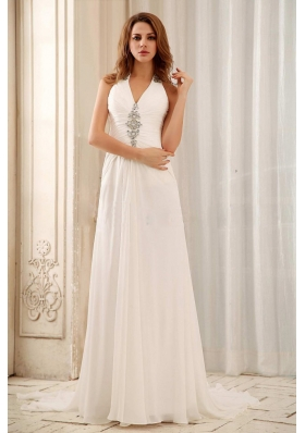 Empire Beaded Decorate Halter Low Price Weding Dress With Chiffon For Wedding  Party
