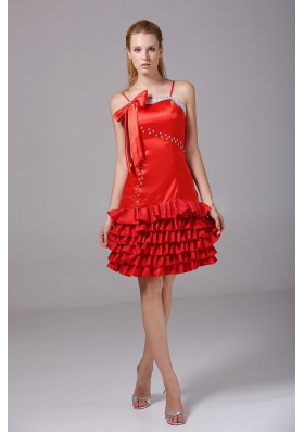 Beading and Bowknot Decorate Bodice Riffled Layers Red Taffeta Spaghetti Straps Knee-length 2013 Prom Dress
