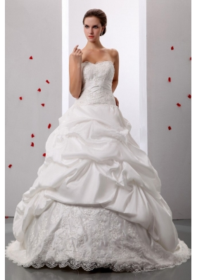 Custom Made A-line Pick-ups Sweetheart Informal Wedding Gowns With Lace and Ruch For Wedding Party