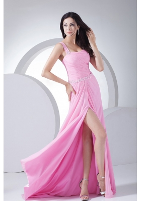 Beading and Ruching Decorate Bodice High Slit Pink Chiffon One Shoulder 2013 Prom Dress